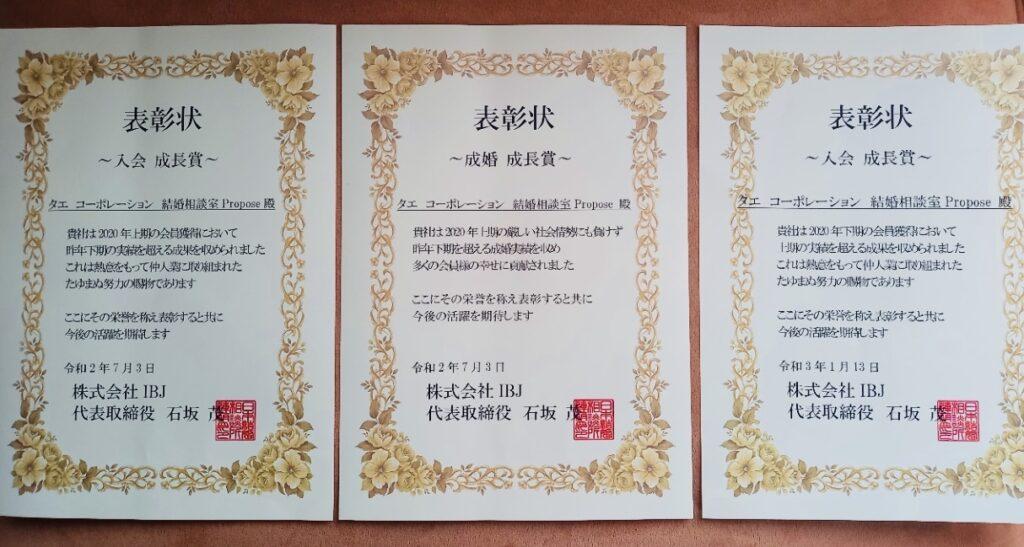 IBJからの3枚の表彰状